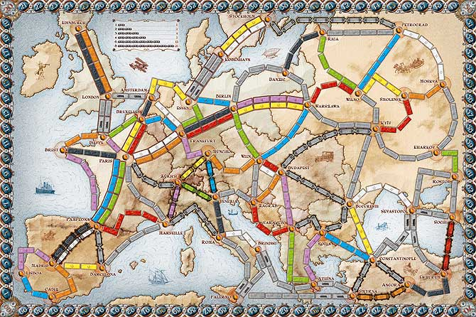 spelbord van Ticket to Ride Europe